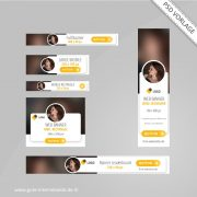Web Banner Set PSD Vorlage Social Yellow