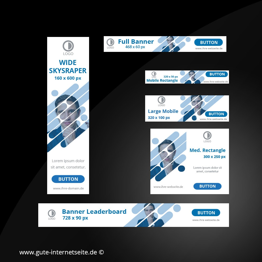 Web Banner Set Vorlage Business Creative Blau