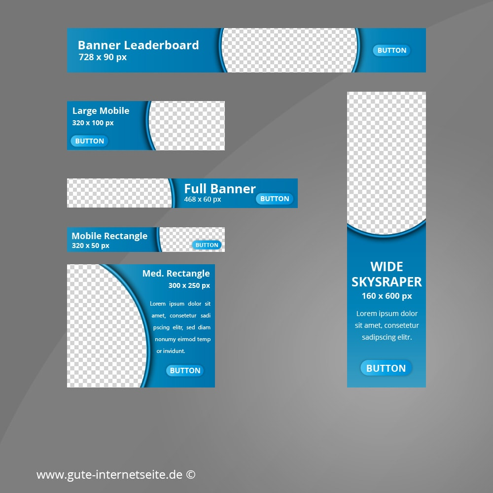 Web Banner Set Vorlage Business Curve Blau