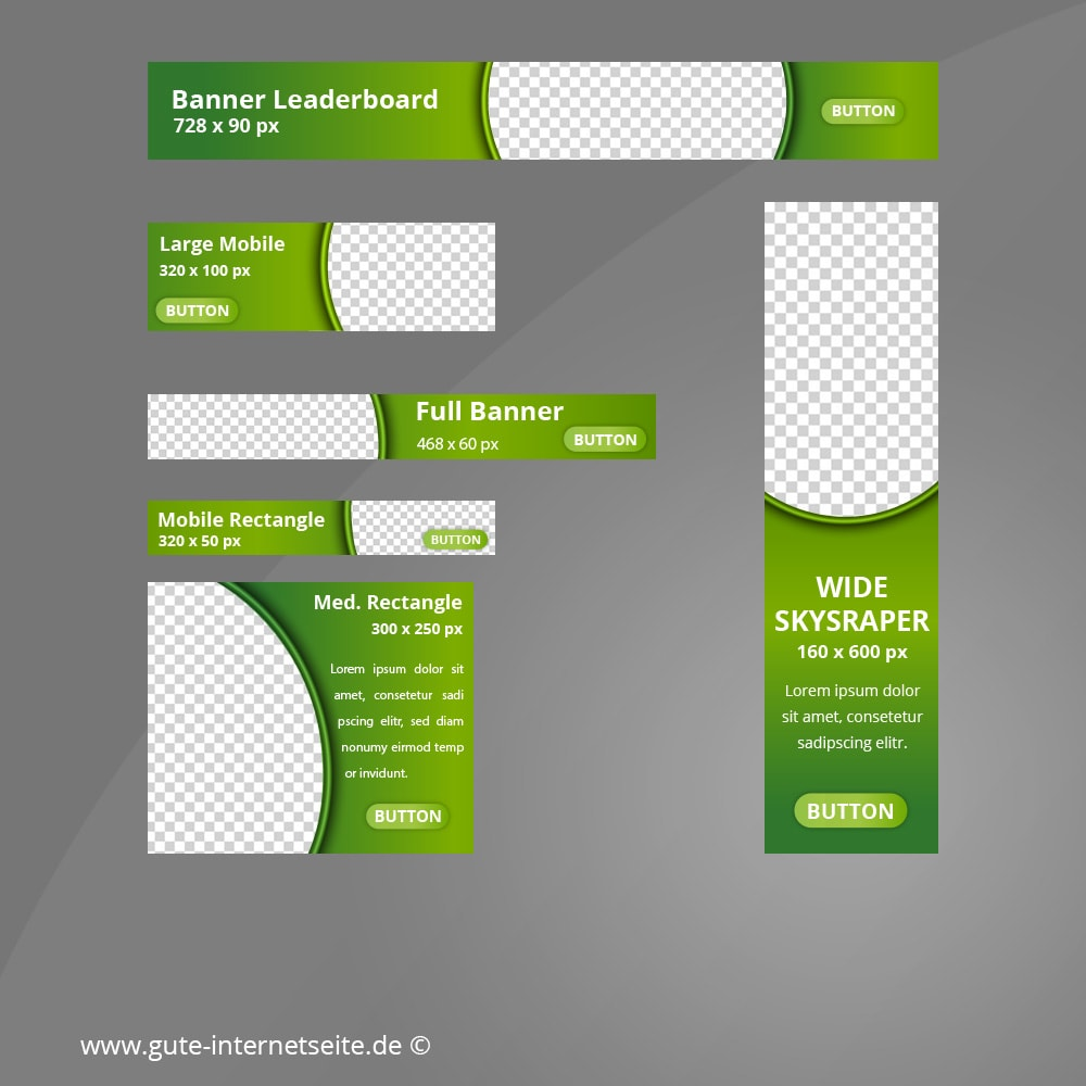 Web Banner Set Vorlage Business Curve Gruen