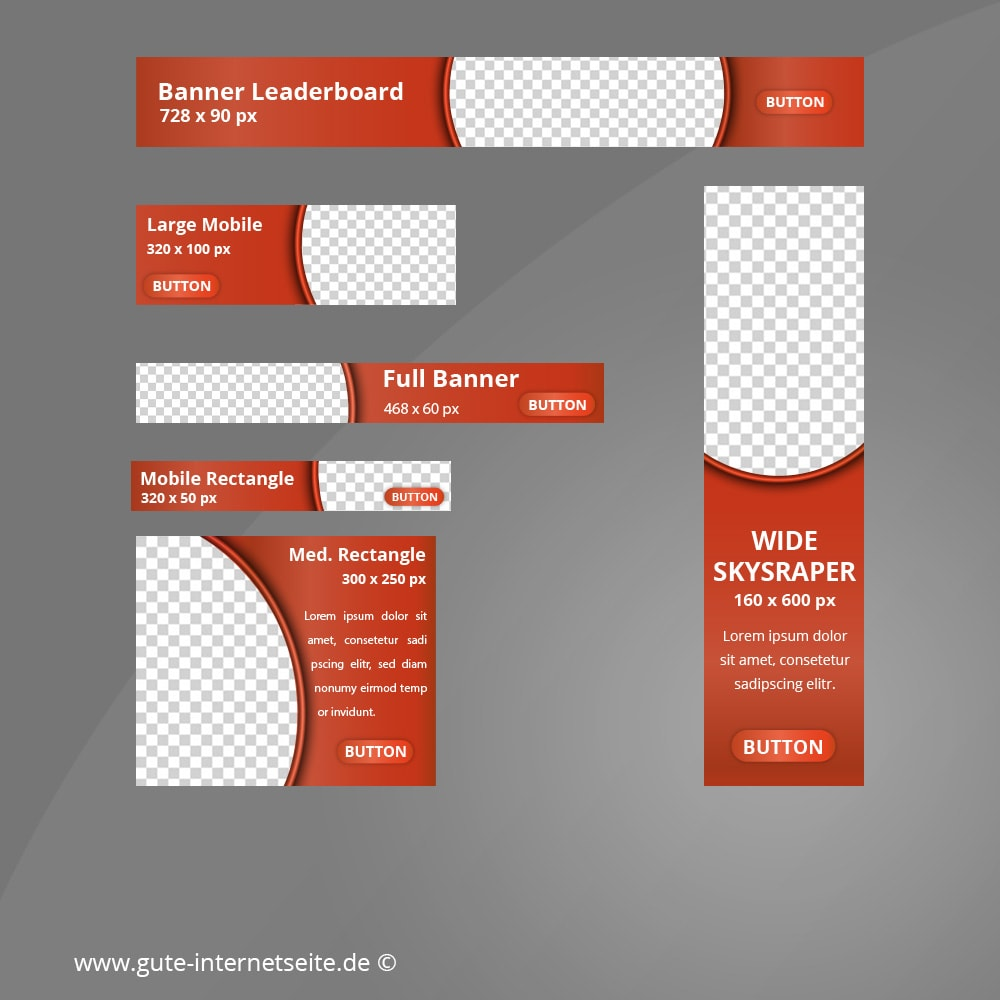 Web Banner Set Vorlage Business Curve Rot