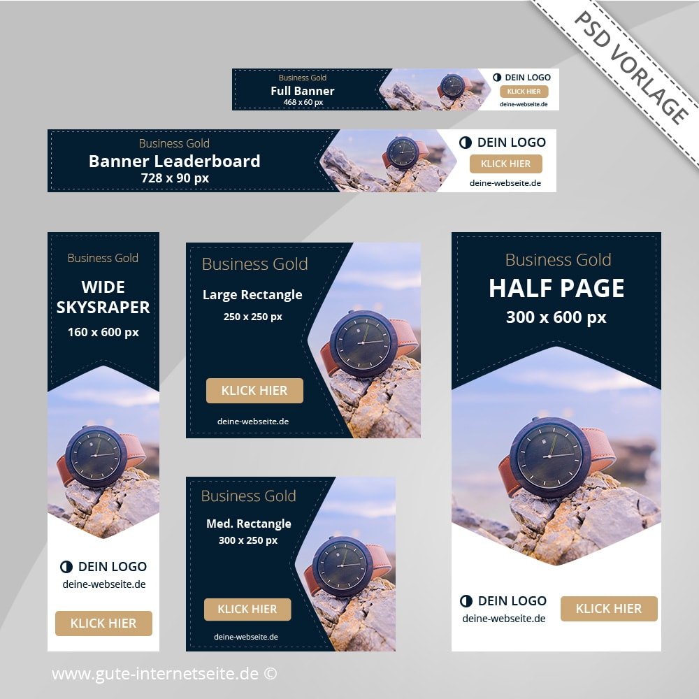 Web Banner ads Set Photoshop Vorlage Business Gold
